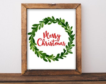 Christmas Printable Art Merry Christmas Print Watercolor Christmas art Christmas home decor Christmas Wall art Noel Santa Christmas sign art