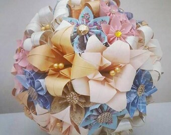 Paper Flowers Origami Wedding Bouquet Gold Blush Pink Peach Cream Blue Lily Daisy Kusudama Vintage Buttons