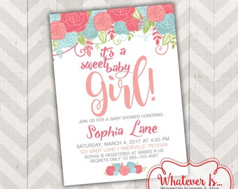 Sweet Baby Girl Turquoise and Coral Baby Shower Invitation