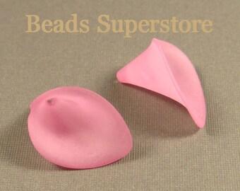 FINAL SALE 19 mm x 21 mm Hot Pink Calla Lily Lucite Flower Bead - 10 pcs