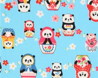 219920 panda animal matryoshyka oxford blue fabric by Kokka