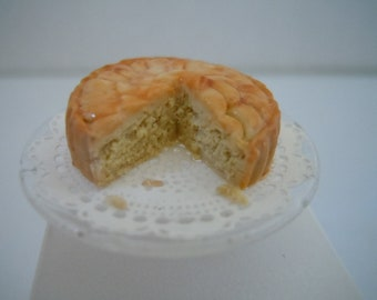Miniature Cake ~ Tart ~ Peach Cake ~ Pastry ~ Bakery ~ Dessert ~ Baked Goods ~ Sweets ~ Kitchen ~ Fairy garden ~ Dollhouse ~ Accessories
