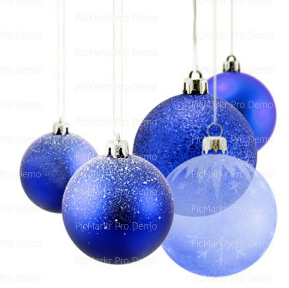 Christmas Blue Ornaments - Edible Cake and Cupcake Topper For Birthday's and Parties! - D9593