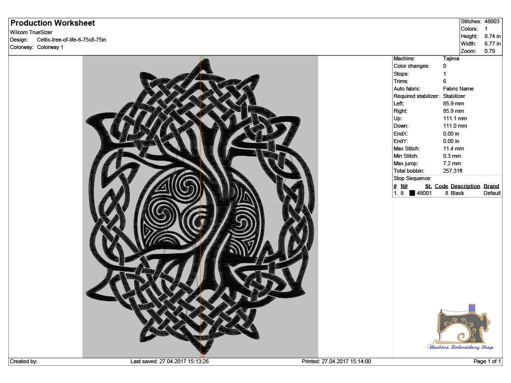 Celtic Symbol Tree Of Life Machine Embroidery Design 3 Sizes For