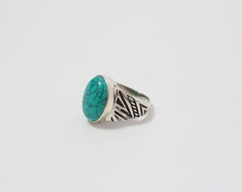 Silver 925 Turquoise Ring Hand Crafted
