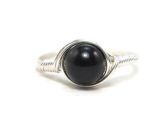 Black Obsidian Ring Argentium Sterling Silver Wire Wrapped Ring Custom Sized For You