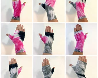 Pink, grey, and black tie dye bamboo fingerless gloves, wrist warmers.