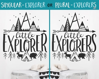 Little Explorer Wall Decal - Nursery Decal, Wall Quote, Little Explorers, Cute Wall Decor, Adventure Decal, Nursery Decor, Woodland Nursery