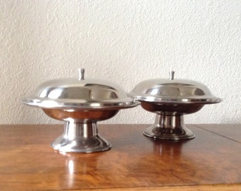 Vintage Mid Century Modern, Stainless Steel Dishes,  Candy Dishes, Serving Dishes, Set of Two