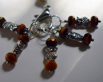Silver and Brown Owl Stitch Markers