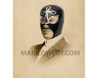 Luchador Lucha Libre Collage Art 8 x 10 Inch Print, Masculine Wall Art Man Cave Decor