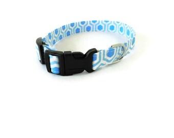 Blue Honeycomb Dog Collar, Cat Collar