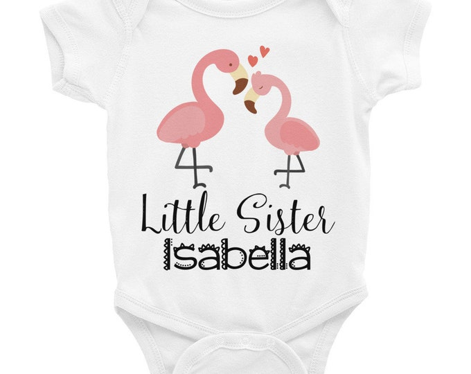 custom baby bodysuit, custom Bodysuit , flamingo baby snapsuit, little sister outfit, sister outfit, little sister, baby sister outfit