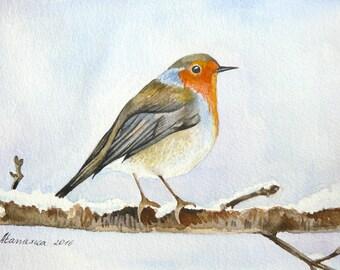 Robin Bird Original watercolor Robin painting Watercolor Bird Art Robin Watercolor Bird painting Watercolor Bird Card