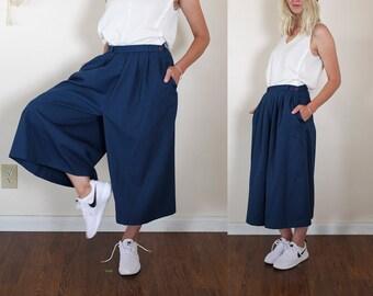 vintage 80s navy gaucho pants
