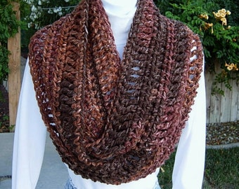 INFINITY SCARF Loop Cowl Dark & Light Brown Extra Soft Long Bulky 100% Acrylic Crochet Knit Winter Circle Wrap..Ready to Ship in 5 Days