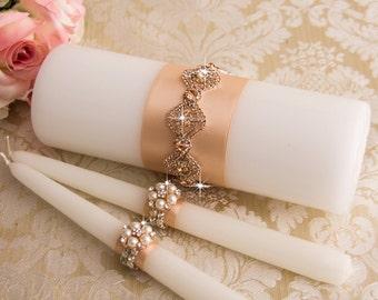 Rose Gold Crystal Unity Candles Set, Blush Wedding Candles, Rose Gold Wedding Unity Candle Set, Rose Gold Wedding Candle Set