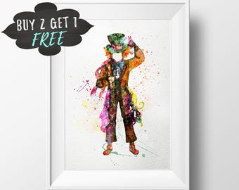 Mad Hatter Tea Party Decor Art Print Poster Instant Download, Alice In Wonderland Wall Art Printable Watercolor Mad Hatter Alice Party Decor
