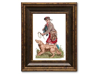 Highland hunter. Scottish cross stitch pattern. Instant download PDF.
