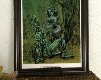 Poison Ivy and Groot, Plant people, Batman, Arkham, Comic art