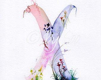 Letter X Watercolour Monogram Print