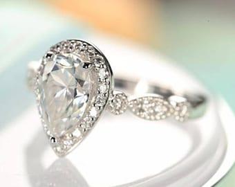 6*9mm Pear shaped engagement ring 14k gold Moissanite vintage Antique Milgrain Art deco Half Eternity Halo Wedding Bridal Set gift for women