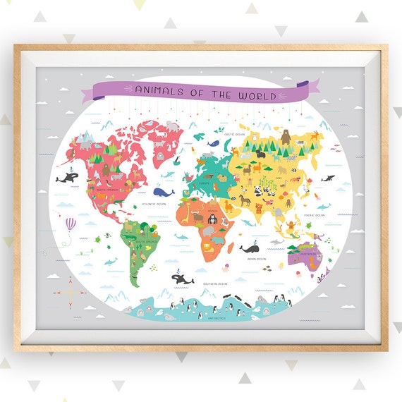 World map map of the world map wall art map nursery art world map map of the world map wall art map nursery art educational poster classroom poster map poster animal map playroom art gray gumiabroncs Gallery