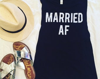 MARRIED AF- black tank top