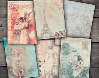 Vintage French Nostalgia Cards - Digital Collage Sheet Printables