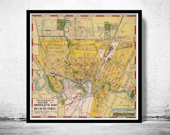 Old Map of Winnipeg Manitoba, Canada 1927