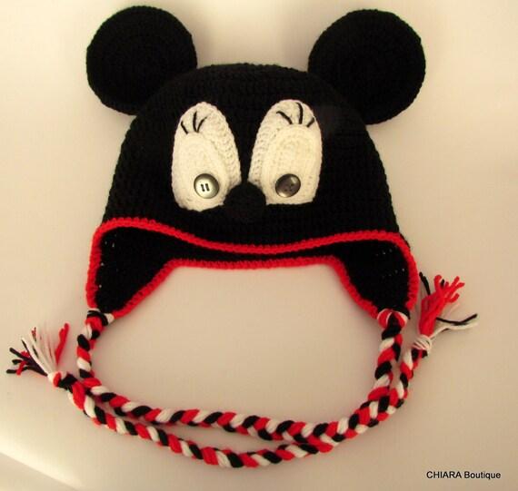 Mütze mit Ohrenklappen Hut Mickey-Mouse Baby stricken Hut