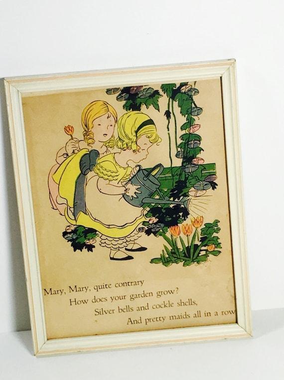 Vintage Framed Nursery Rhyme Nursery Rhyme Wall Decor Mary