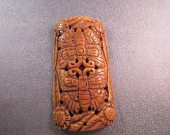 Camel Bone Carved Moth Beads 1pc