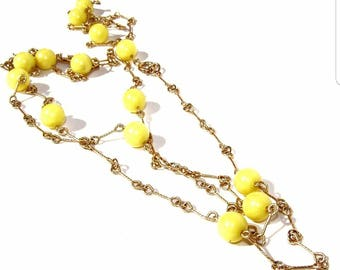 Vintage Mellow Yellow Ball and Chain Long Twirling Necklace