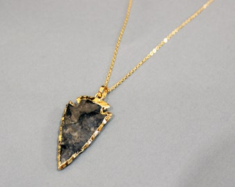 Gold Jasper Arrowhead Necklace - Long Boho Arrowhead Stacking Necklace