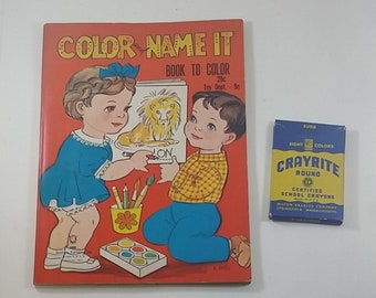 Vintage Color and Name It Coloring Book, 1965 Stephens Publishing, 96 Pages, Uncolored, and Box of Milton Bradley Crayons, Gift, Collectible