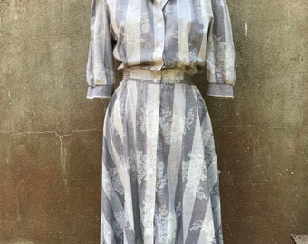 Vintage Monica Richards Of California Gray Floral And Striped Midi Dress