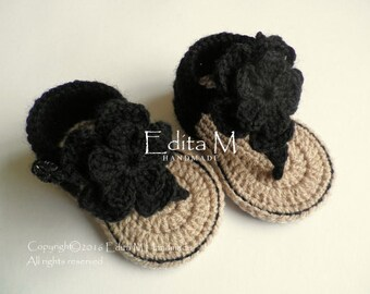 Crochet baby sandals, gladiator sandals, sandles, baby flip flops, booties, shoes, black, tan, flower, size 6-9 months, gift for baby, idea