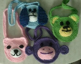 Girls Animal Purse - hand crocheted - Bear, kitten, monkey or puppy!