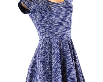 Navy Soft Knit Fit and Flare Cap Sleeve Skater Skate Dress Comfort 151276
