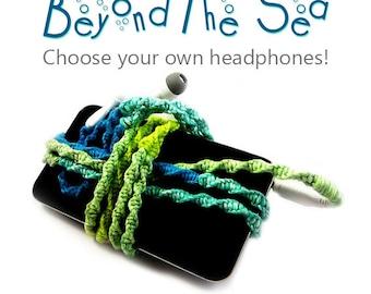 Tangle Free Headphones | Custom Macrame Wrapped Earbuds | Choose Your Own Headphones | Ocean Beach Apple iPhone 8 Earpods, Android Earphones