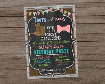 Boots and Bows Birthday Invitation, Twins First Birthday, My First Rodeo, Cowgirl First Birthday, Cowboy First Birthday, Boy Girl Twins