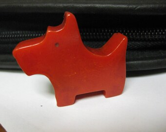 "Vintage Bakelite Red Scotty Scottie Dog Pencil Sharpener 1-1/2"" x 1-1/4"" x 7/16"" Animal"