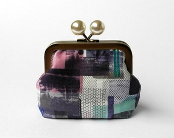 Coin Purse, Small Purse, Clasp Wallet, Kisslock Pouch, Jewelry Pouch, Bobble Metal Frame, Loyalty Card Holder, Organizer, Purple Geometric