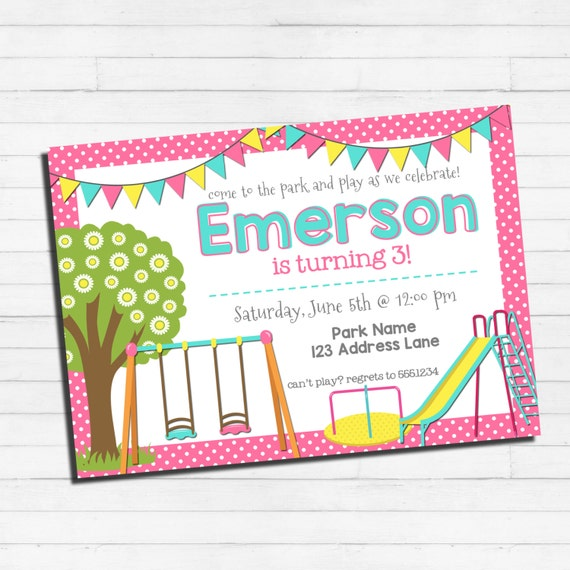 Playground birthday invitation park birthday invitation filmwisefo Gallery