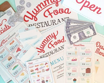 Pretend Play RESTAURANT SET Printables- Instant PDF Download- menus, tickets, signs, name tags