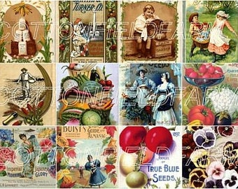Vintage Seed and Flower Catalogs Digital Collage Sheet 12 Images C-138 for Scrapbooking, Tags, Altered Art, Decoupage