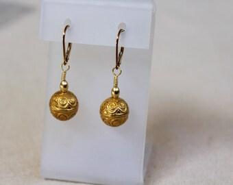 Gold Bead Earrings