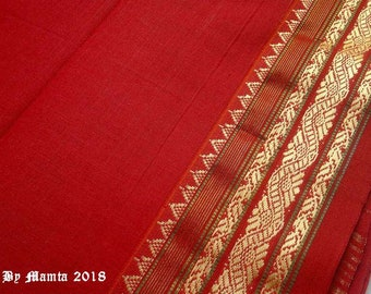 Indian Woven Fabric, Red Saree Fabric By The Yard, Indian Cotton Sari Fabric, Lightweight Curtain Material, Handloom Cotton, Indian Fabric