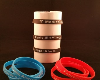 1 PC Penicillin Awareness Silicone Wristband Bracelet